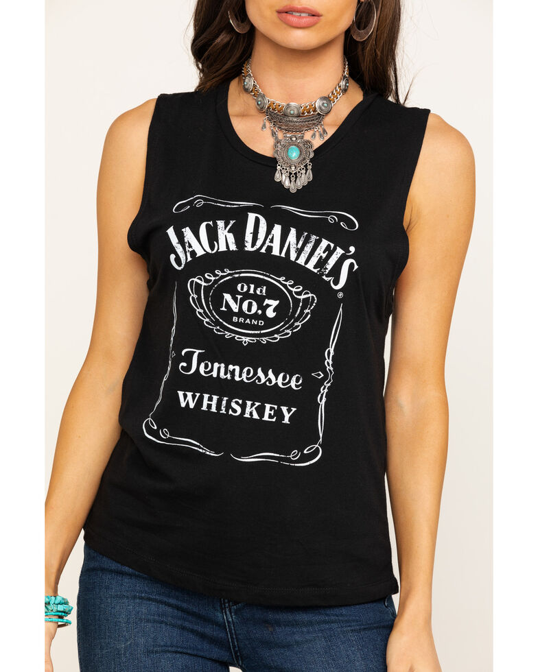 Jack Daniel's Women's Traditional Label Muscle Tank Top , Black, hi-res