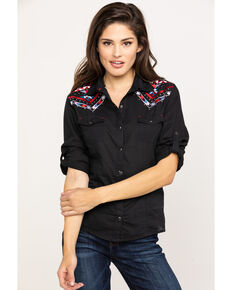 d423a5471 White Label by Panhandle Women's Geometric Embroidered Long Sleeve Shirt