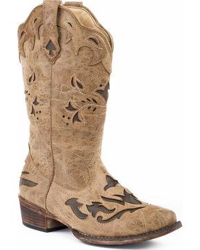Roper Women's Spade Brown Underlay Cowgirl Boots - Snip Toe, Tan, hi-res