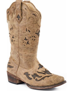 Roper Women's Spade Brown Underlay Cowgirl Boots - Snip Toe, Tan, hi-res
