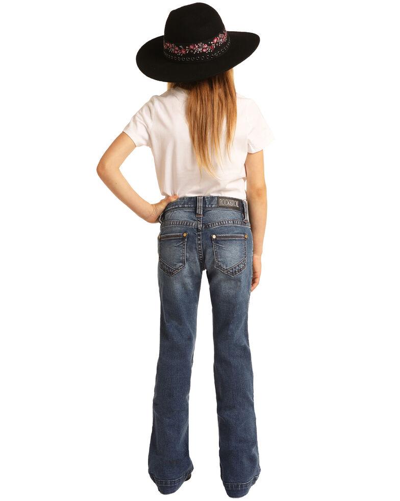 Rock & Roll Denim Girls' Medium Wash Simple Trousers , Blue, hi-res
