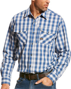 Ariat Men's Rebar Sully Plaid Long Sleeve Work Shirt, Turquoise, hi-res