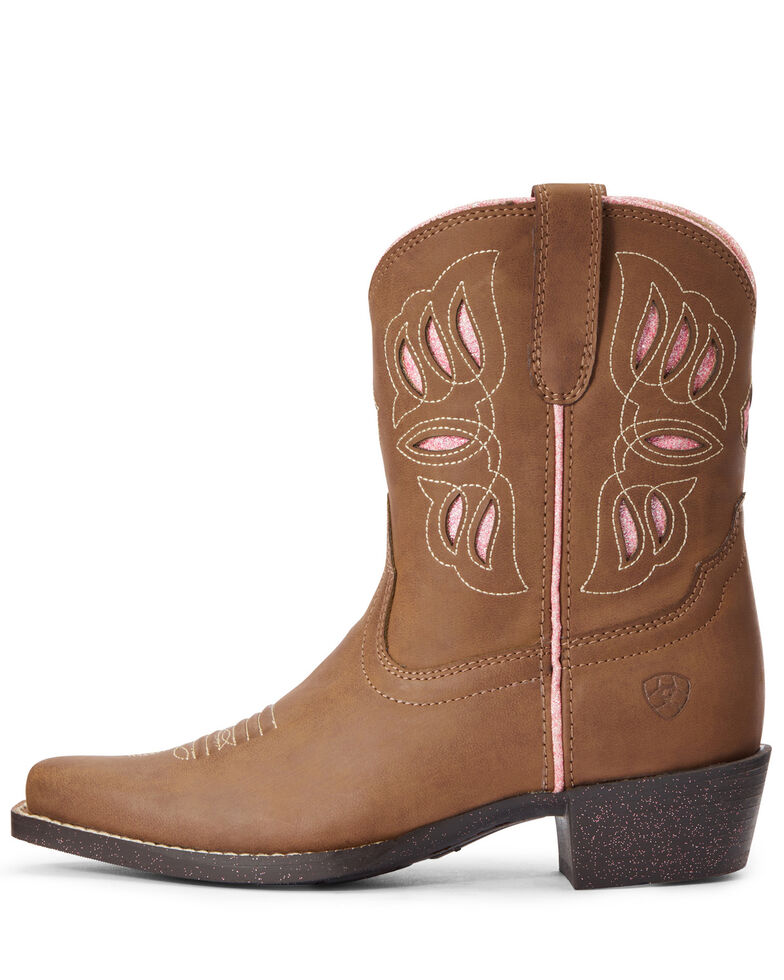 Ariat Girls' Glitzy Glam Western Boots - Snip Toe, Brown, hi-res