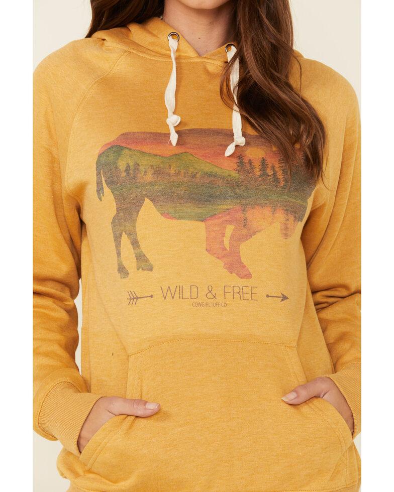 Cowgirl Tuff Women's Mustard Buffalo Graphic Hooded Sweatshirt , Mustard, hi-res