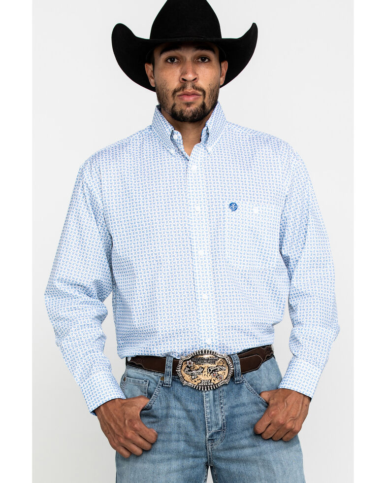 George Strait By Wrangler Men's Small Paisley Print Long Sleeve Western Shirt - Tall , Blue, hi-res