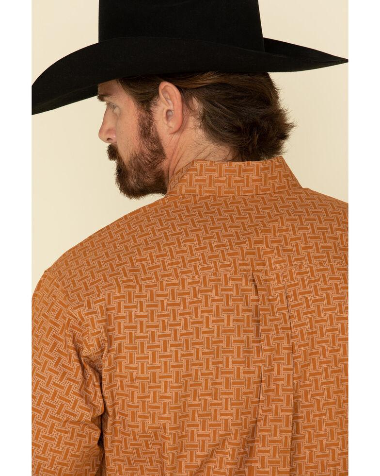 Cinch Men's Brown Geo Print Plain Weave Long Sleeve Western Shirt , Brown, hi-res