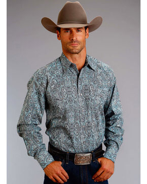 Stetson Men's Blue Paisley Long Sleeve Western Shirt , Blue, hi-res