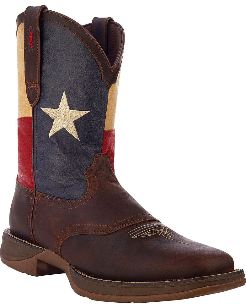 Durango Rebel Men's Texas Flag Western Boots - Square Toe, Brown, hi-res