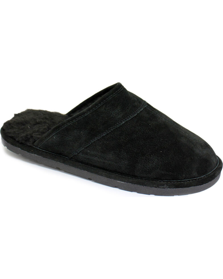 Lamo Men's Scuff Leather Slippers, Black, hi-res