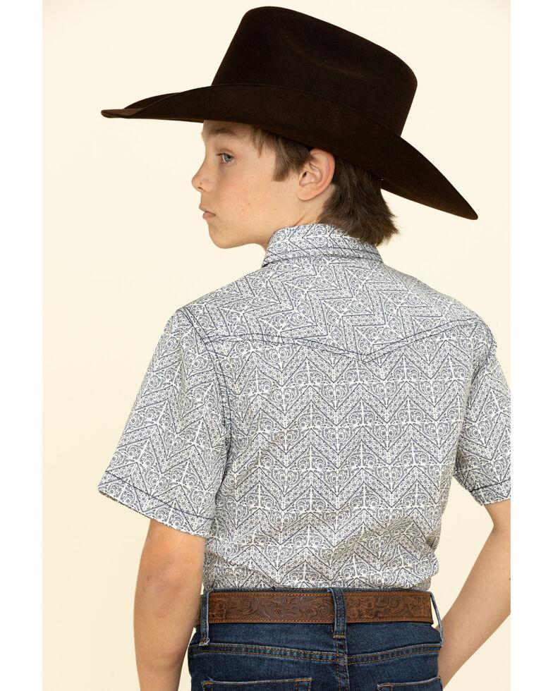 Cody James Boys' Chevron Floral Print Short Sleeve Western Shirt , Navy, hi-res