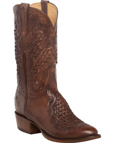 Lucchese Men's Handmade Aiden Chocolate Woven Leather Inlay Western Boots - Round Toe, Chocolate, hi-res