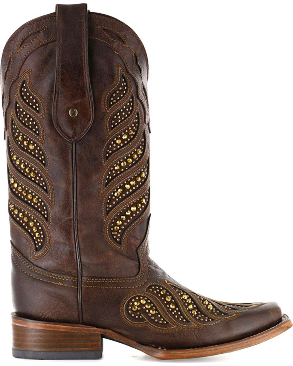 Corral Women's Crystal Inlay Boots - Square Toe , Brown, hi-res