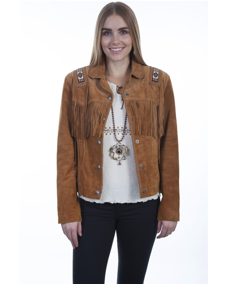 Scully Women's Boar Suede Beaded Fringe Jacket, Tan, hi-res