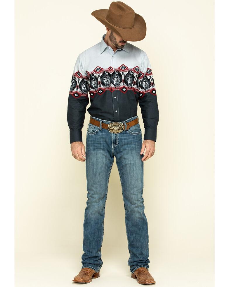 Panhandle Men's Charcoal Aztec Scenic Border Print Long Sleeve Western Shirt , Charcoal, hi-res