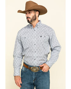 George Strait by Wrangler Men's Red Small Paisley Print Long Sleeve Western Shirt - Big , Red, hi-res