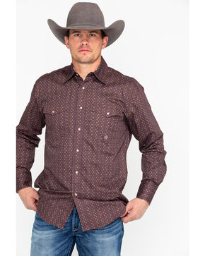Roper Men's Brown Geo Print Long Sleeve Western Shirt , Brown, hi-res