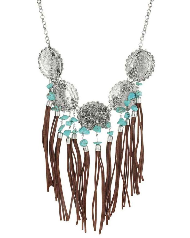 Montana Silversmiths Women's Fringe Waterfall Concho Attitude Necklace, Silver, hi-res