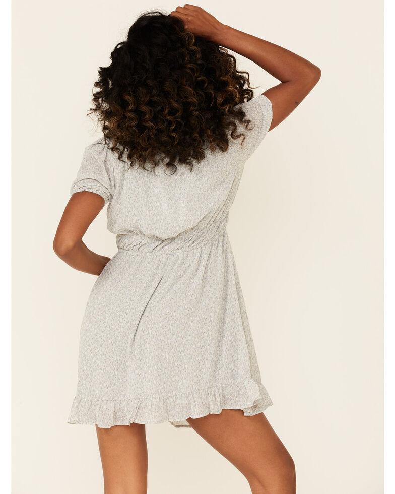 Very J Women's Speckle Print Smocked Waist Dress, Blue, hi-res