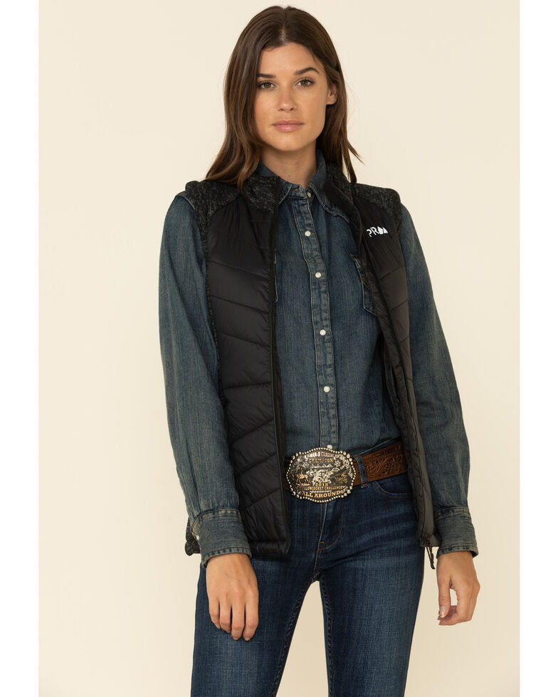 Powder River Outfitters Women's Black Conceal Carry Logo Vest, Black, hi-res