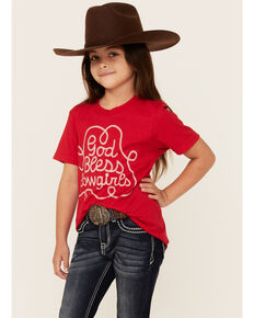 Ali Dee Girls' Red God Bless Graphic Short Sleeve T-Shirt , Red, hi-res