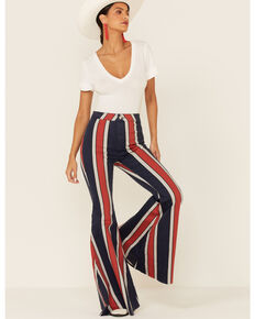 Free People Women's Striped Just Float On Flare Jeans , Navy, hi-res