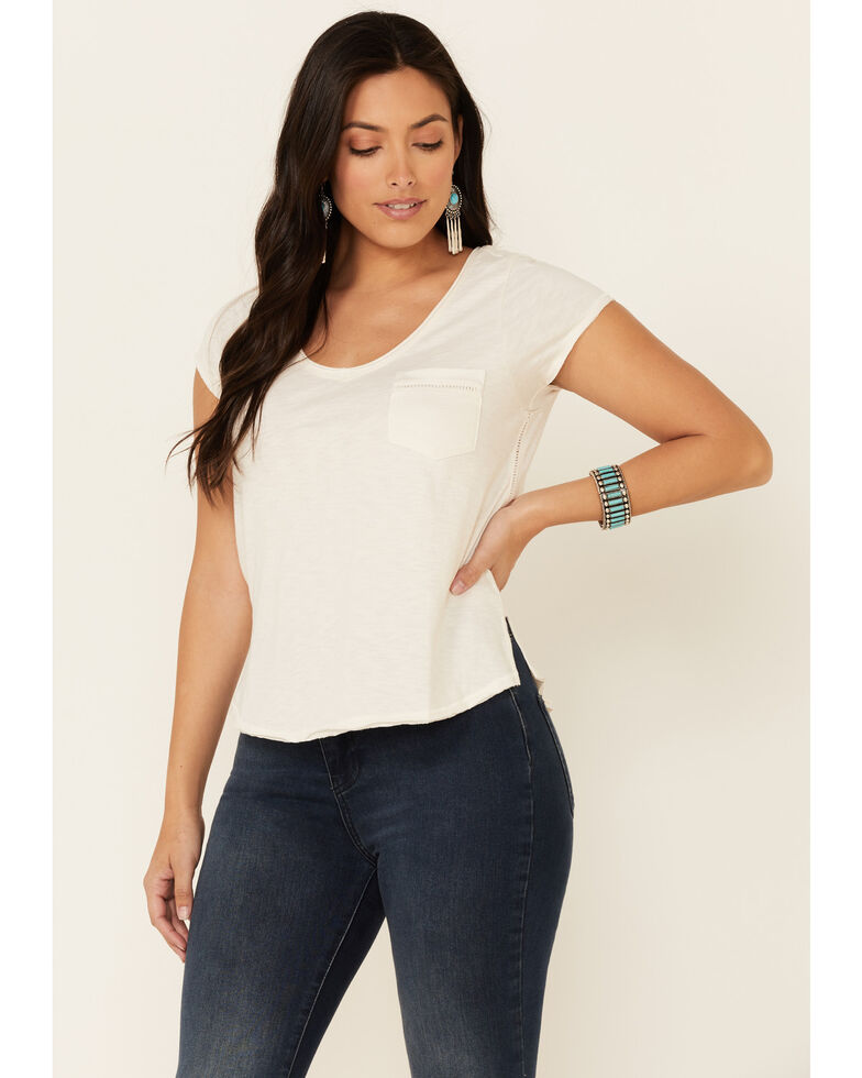 Shyanne Women's Off-White Ladder Lace Short Sleeve Pocket Tee , Off White, hi-res