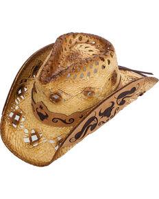 Western Express Men s Callahan Steer Design Straw Hat 9034b393dc67