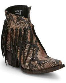 Tony Lama Women's Anahi Fringe Fashion Booties - Snip Toe, Tan, hi-res