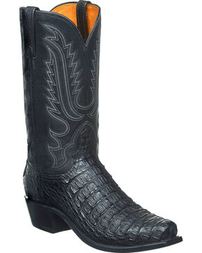 Lucchese Men's Handmade Walter Hornback Caiman Western Boots - Snip Toe, Black, hi-res