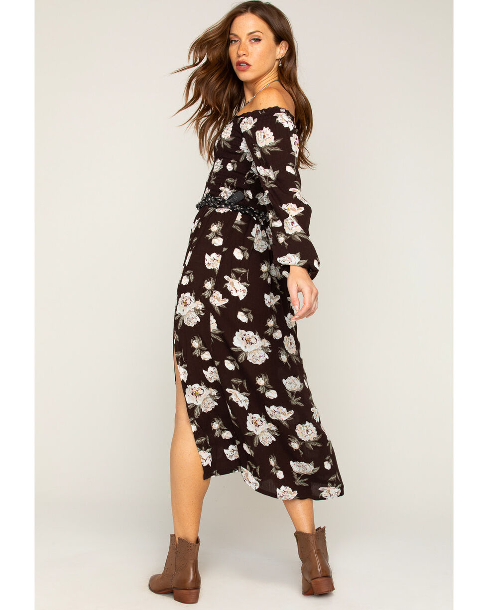 Shyanne Women's Floral Off The Shoulder Maxi Dress    , Black, hi-res