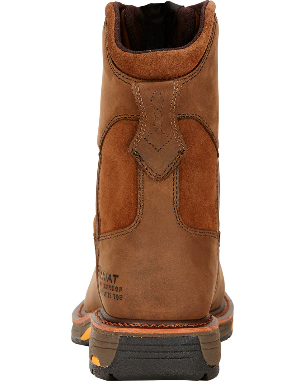 "Ariat Workhog 8"" H2O Work Boots - Composite Toe , Brown, hi-res"