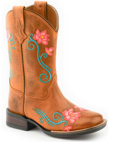 Roper Youth Girls' Helen Western Boots - Square Toe, Brown, hi-res