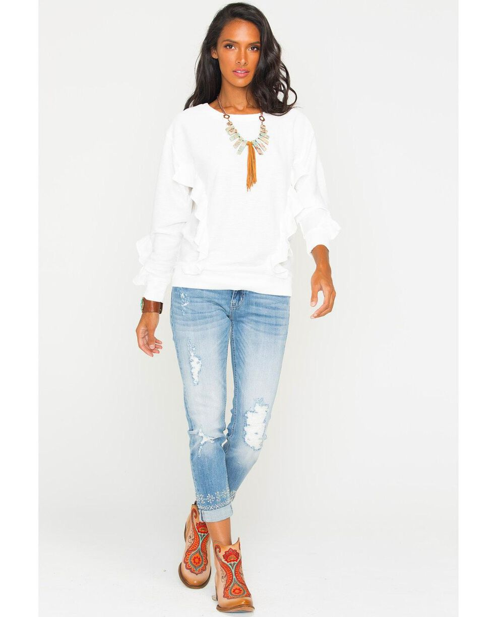 Miss Me Women's White Free Falling Pullover Top , , hi-res