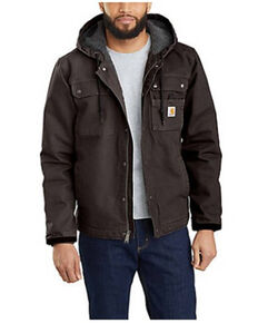 Carhartt Men's Dark Brown Washed Duck Sherpa Lined Work Jacket - Tall , Dark Brown, hi-res