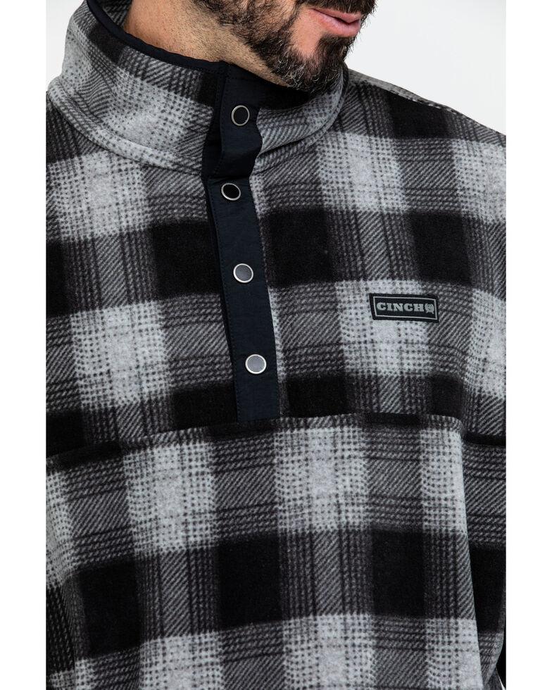 Cinch Men's Plaid Polar Fleece 1/4 Snap Front Pullover , Purple, hi-res