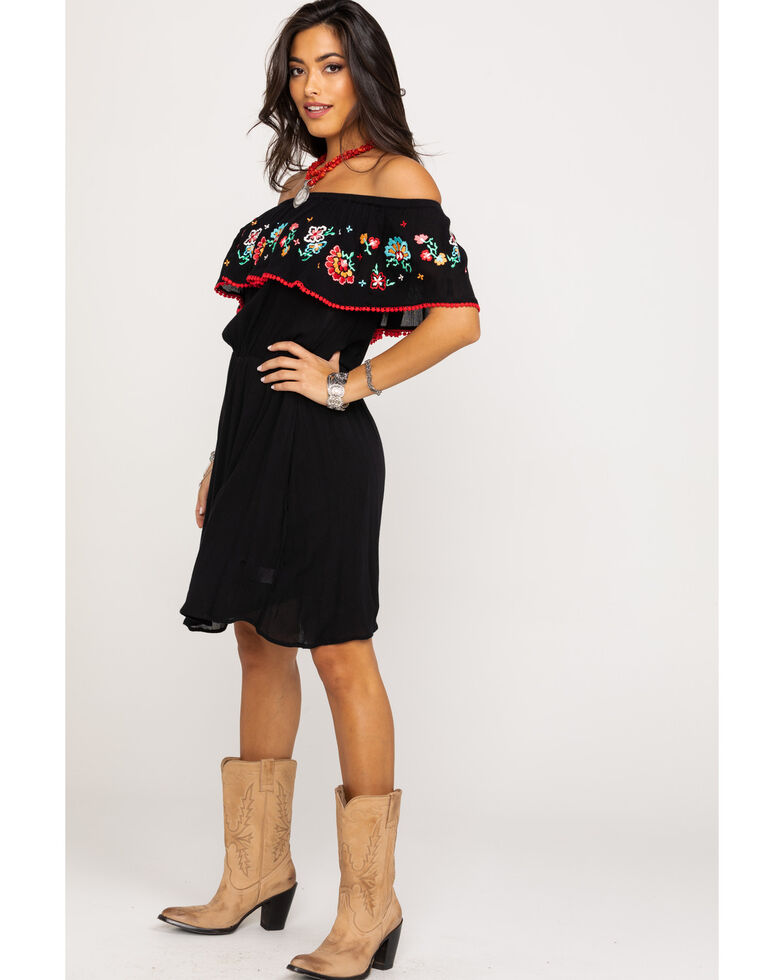 Red Label by Panhandle Women's Black Off Shoulder Embroidered Flounce Dress, Black, hi-res