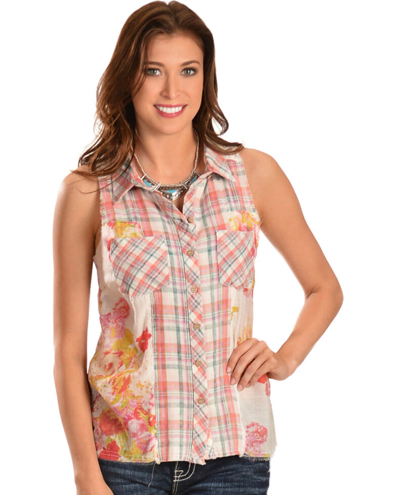 7aabf7aa89c49a Miss Me Women s Plaid   Floral Sleeveless Button-Down Shirt ...