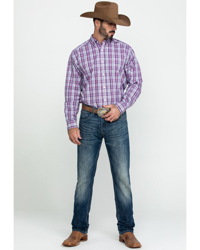 Ariat Men's Wrinkle Free Illington Small Plaid Long Sleeve Western Shirt - Tall , Multi, hi-res