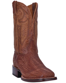 El Dorado Men's Sanded Shark Western Boots - Wide Square Toe , Cognac, hi-res