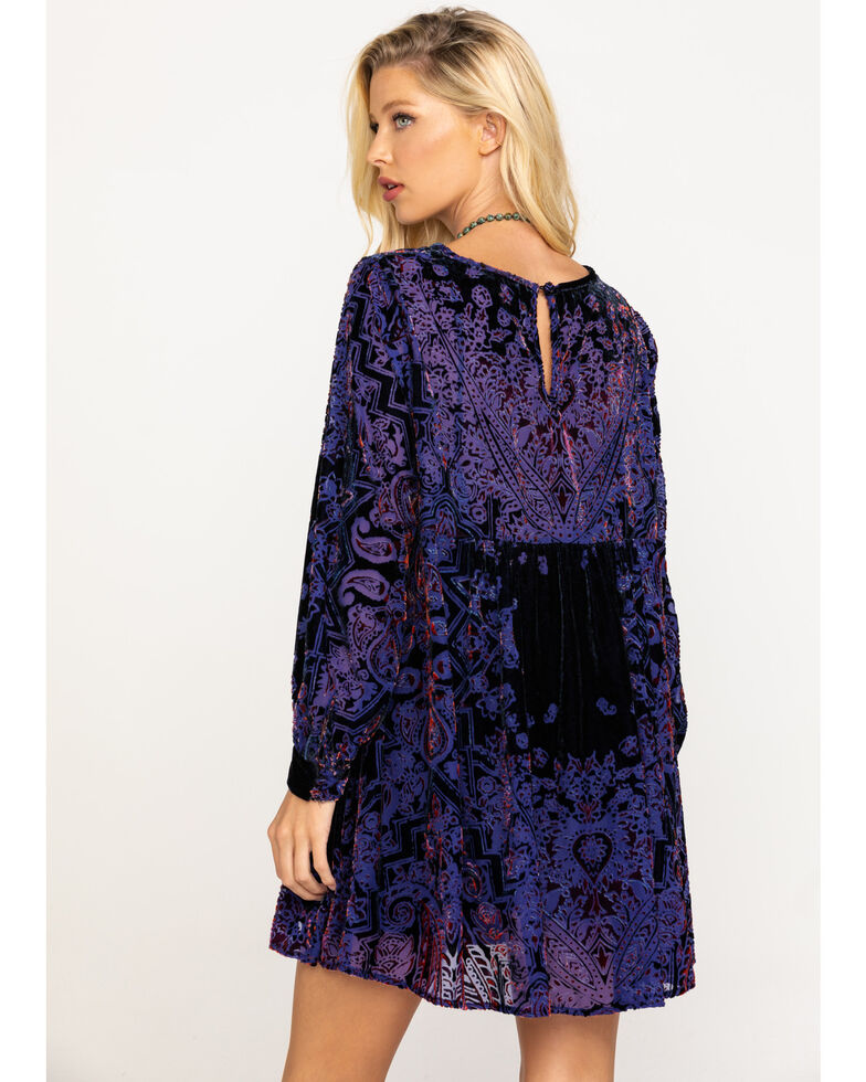 Free People Women's Mirror Mirror Velvet Jacquard Babydoll Dress, Black, hi-res