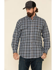 Wrangler Riggs Men's Multi Plaid Foreman Long Sleeve Work Shirt , Orange, hi-res