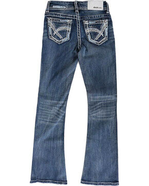Grace in LA Girls' Blue Heavy Stitched Jeans - Boot Cut , Blue, hi-res