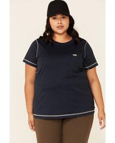 Ariat Women's Navy Camo Rebar Workman Back Flag Graphic Short Sleeve Work Pocket T-Shirt - Plus, Blue, hi-res