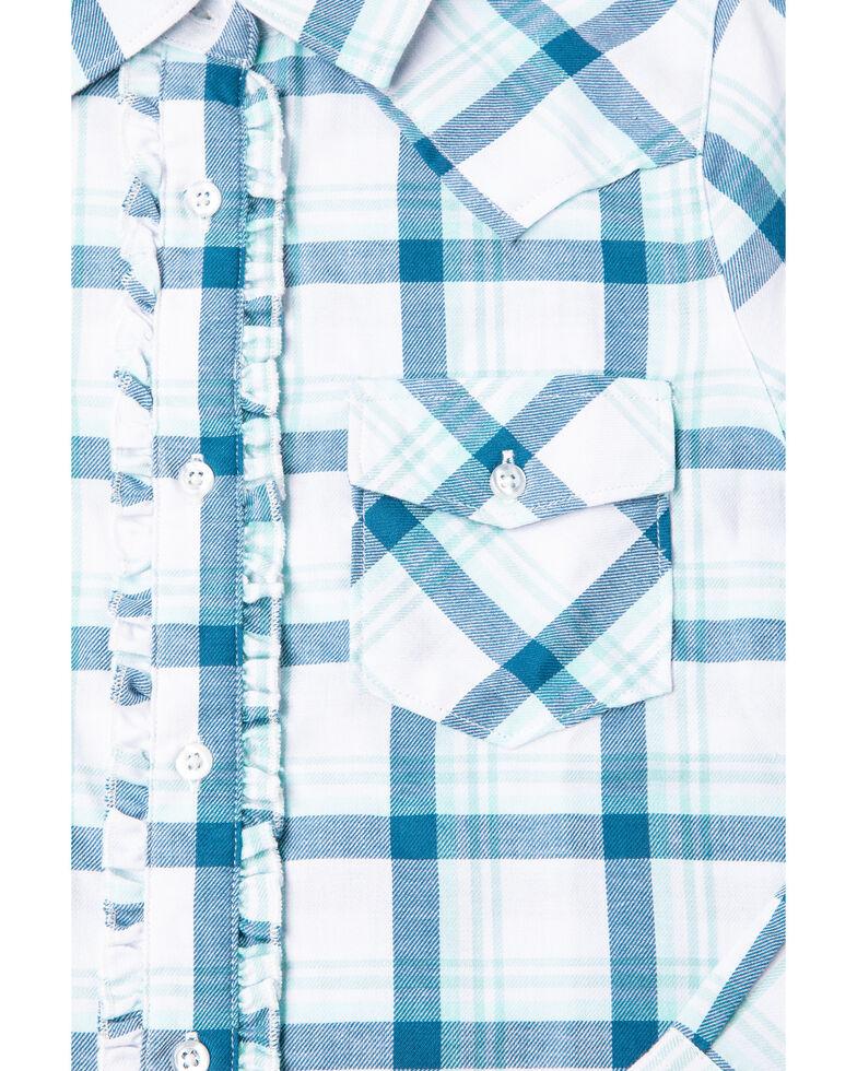 Shyanne Girls' Blue Plaid Ruffle Woven Long Sleeve Western Shirt, Teal, hi-res