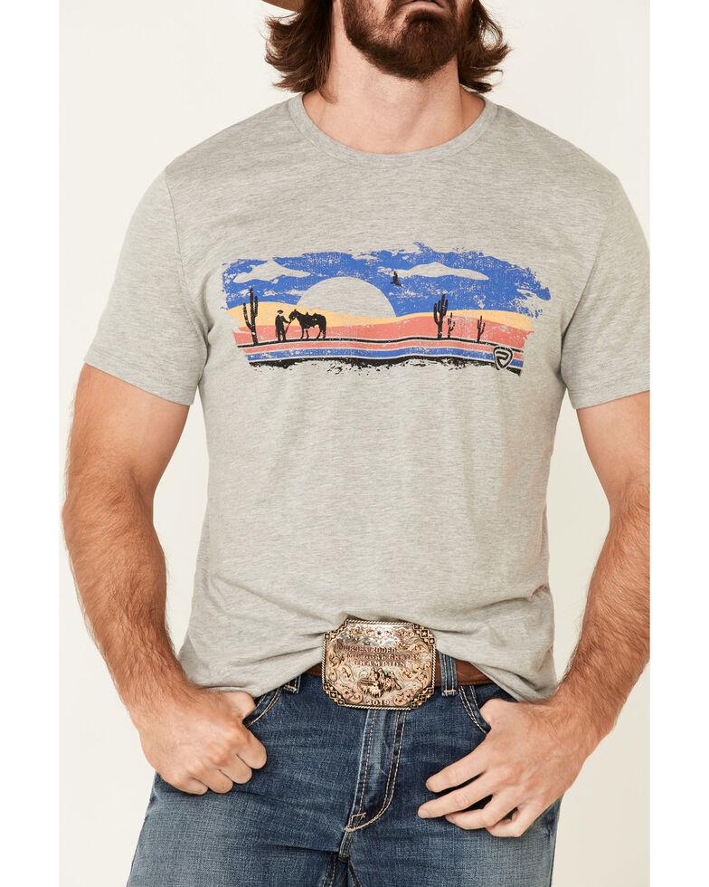 Rock & Roll Denim Men's Grey Western Scene Graphic Short Sleeve T-Shirt , Grey, hi-res