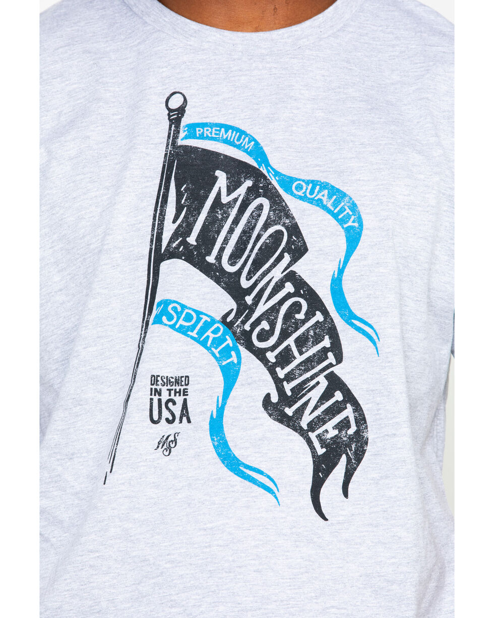 Moonshine Spirit Men's Wave Flag Screen Print T-Shirt , Heather Grey, hi-res