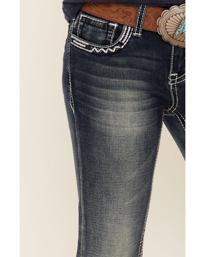Grace In LA Girls' Sequins Scroll Embellished Pocket Bootcut Jeans, Blue, hi-res