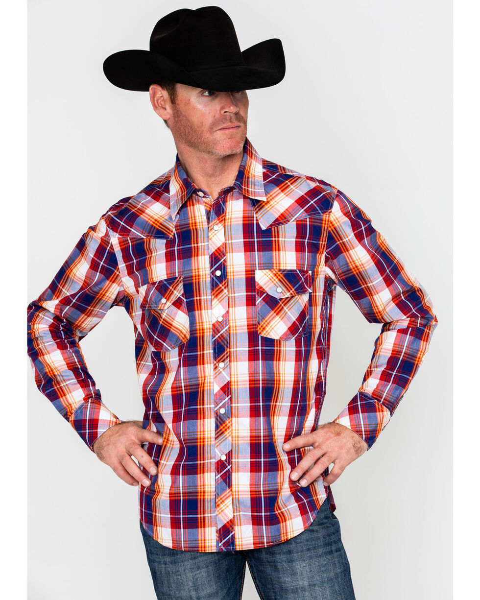 Rock & Roll Cowboy Men's Red Crinkled Wash Plaid Long Sleeve Western Shirt , Red, hi-res