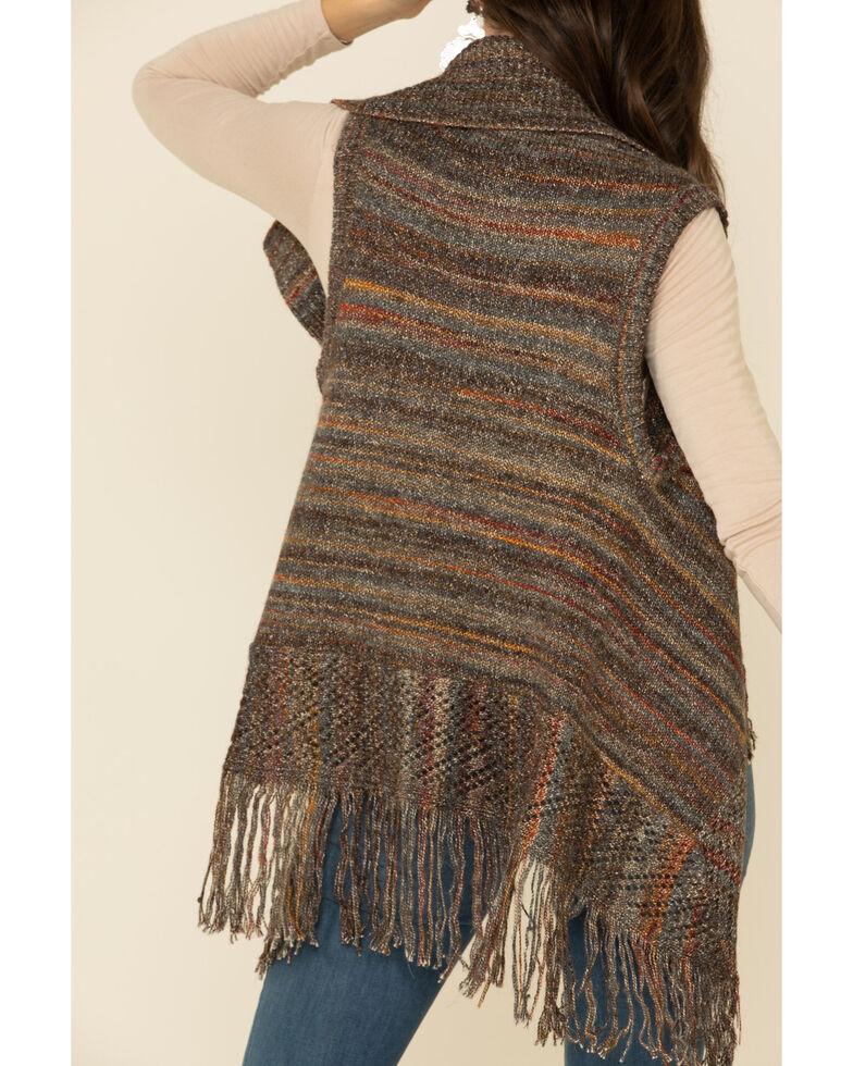 Shyanne Women's Olive Marled Stripe Fringe Sweater Vest, Olive, hi-res
