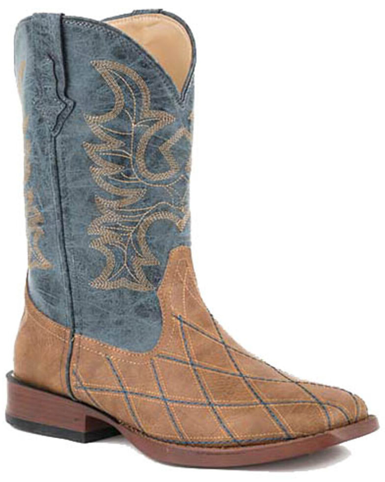 Roper Men's Cross Cut Tan Western Boots - Square Toe, Tan, hi-res